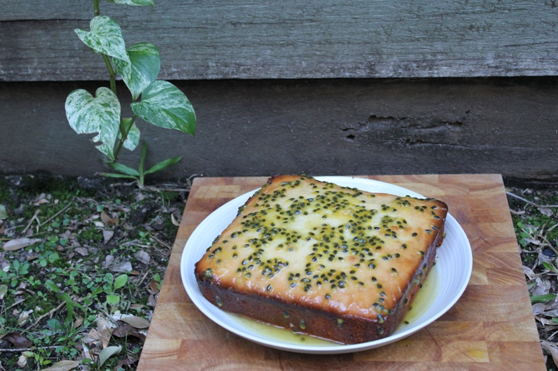 Passionfruit and lime syrup cake