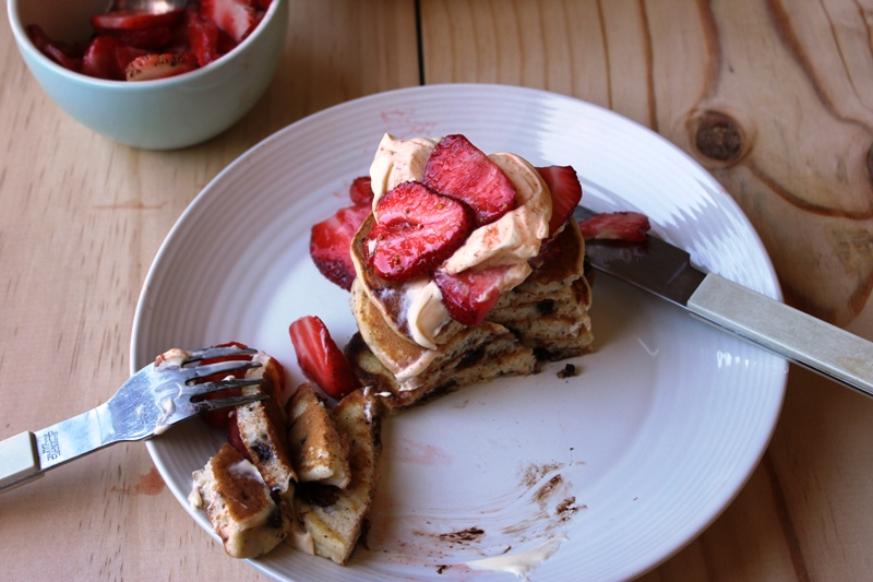 Chocolate Chip Pancakes with Cinnamon Strawberries