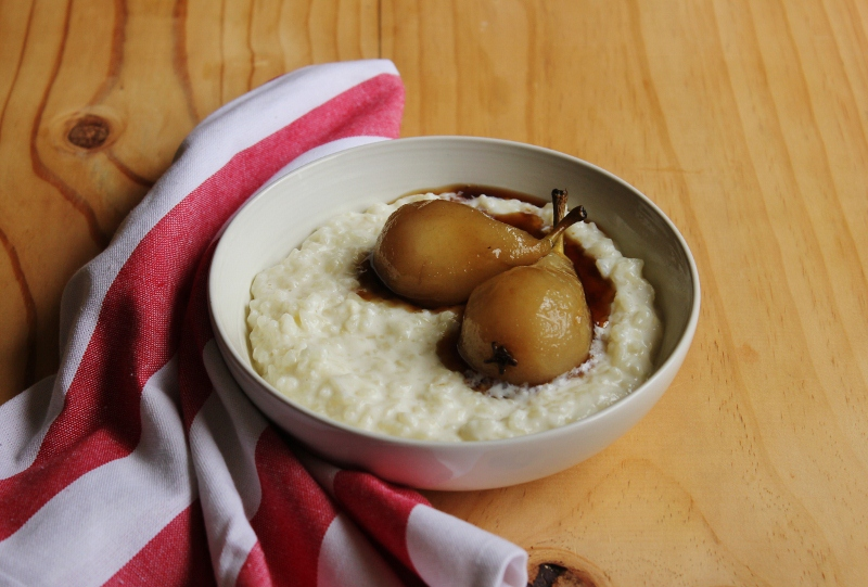Sweet Rice Pudding with Poached Pears Recipe