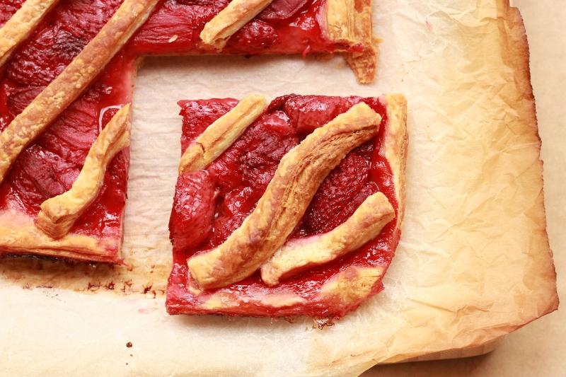 Roasted Strawberry Danish Tart