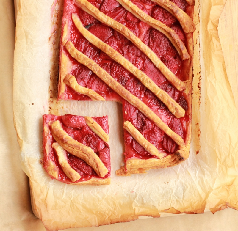 Roasted Strawberry Danish Tart