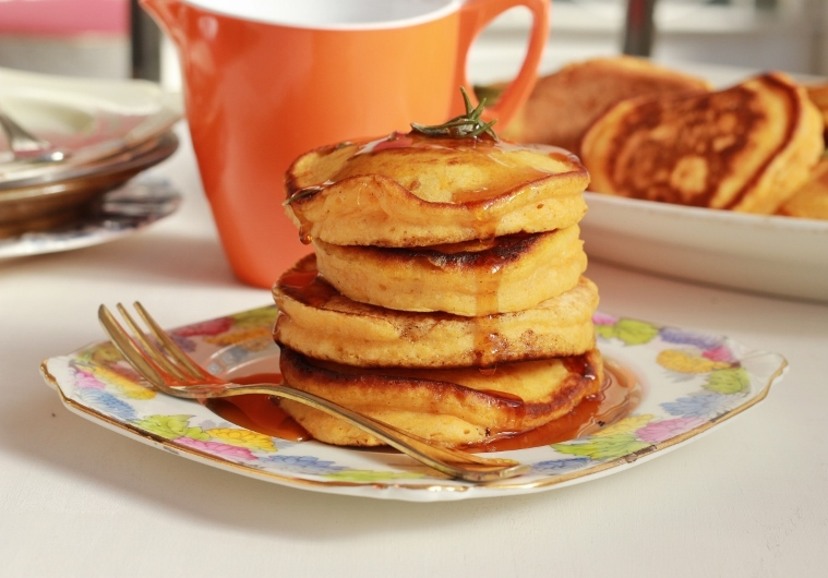 Pumpkin Pancakes Recipe with Rosemary Maple Syrup