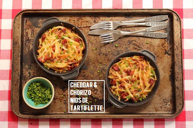 Chorizo and Cheddar Nids de Tartiflette | TheSugarHit.com