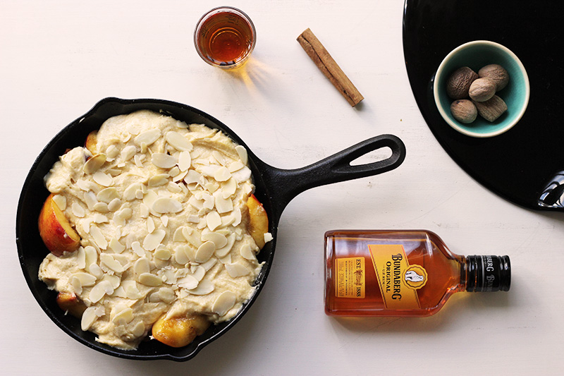 Eggnogg Peach Cobbler Cake | TheSugarHit.com