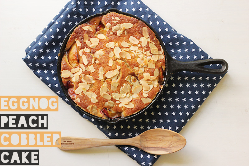 Eggnog Peach Cobbler Cake | TheSugarHit.com