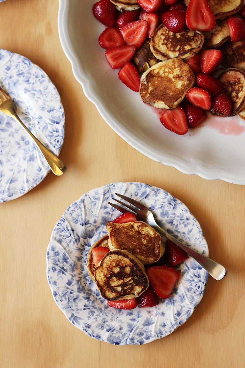 Sweet Ricotta Fritters with Rose-scented Strawberries | The Sugar Hit