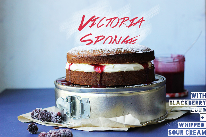 Victoria Sponge with Blackberry Curd | The Sugar Hit