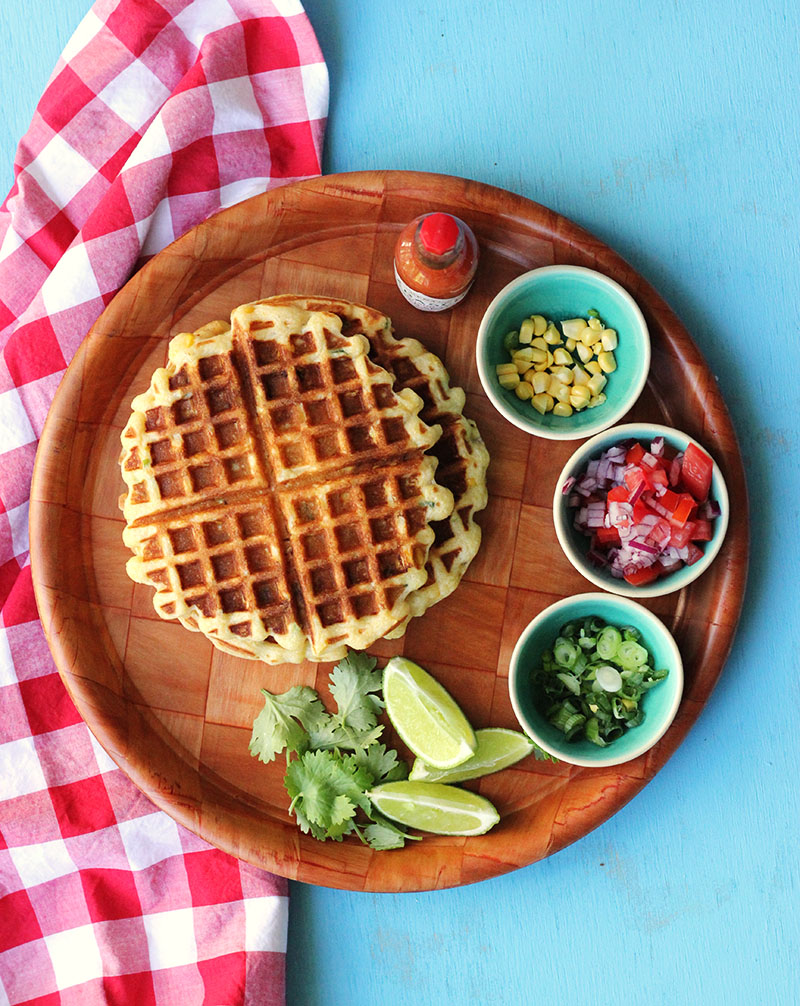 Corn and Scallion Belgian Waffles | The Sugar Hit