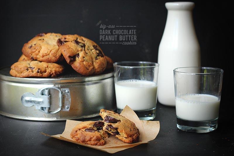 Dark Chocolate Peanut Butter Cookies   The Sugar Hit
