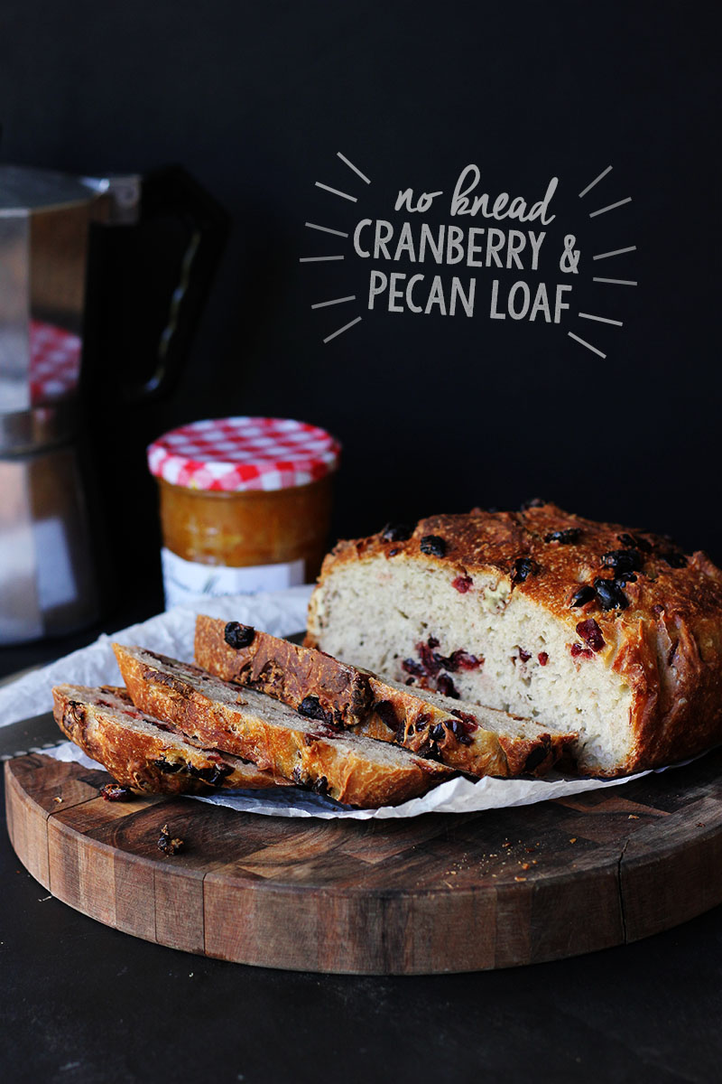 No Knead Cranberry Pecan Loaf | The Sugar Hit