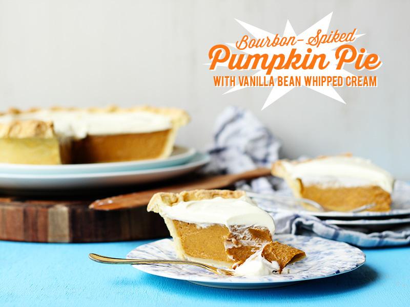 Bourbon Spiked Pumpkin Pie with Vanilla Bean Whipped Cream | The Sugar Hit