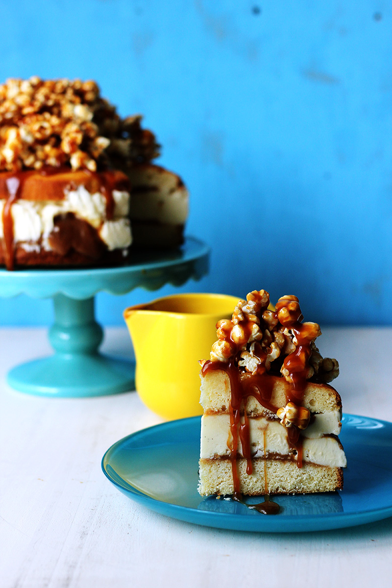 Salted Caramel Popcorn Ice Cream Cake | The Sugar Hit