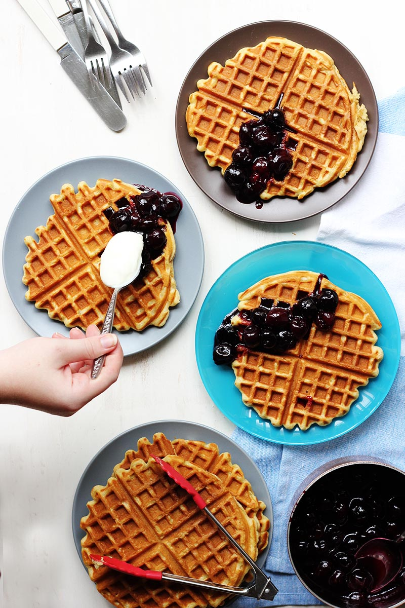 Beer Waffles with Maple Cherry Compote // The Sugar Hit
