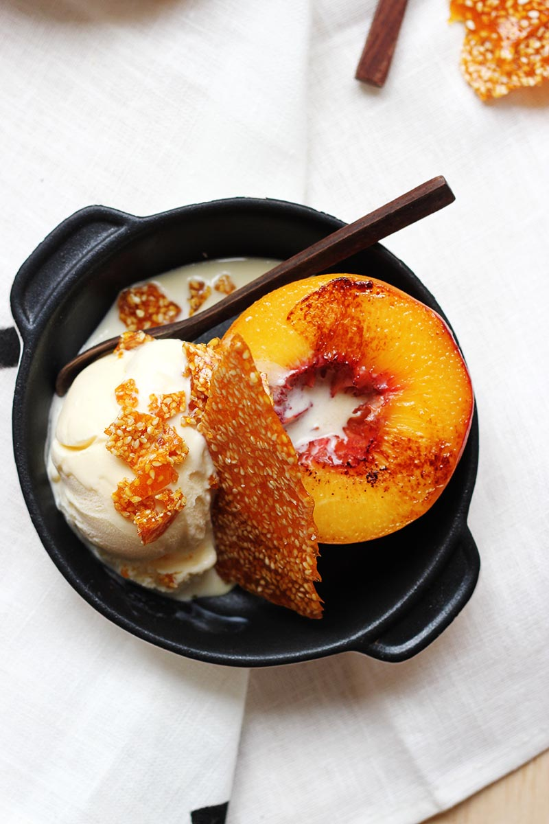 Peach Splits with Goma Praline // The Sugar Hit
