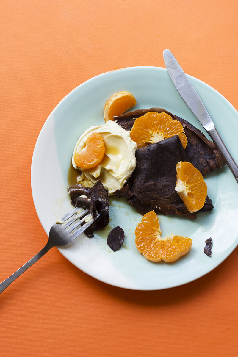 Cocoa Crepes with Creme Fraiche & Mandarin // The Sugar Hit