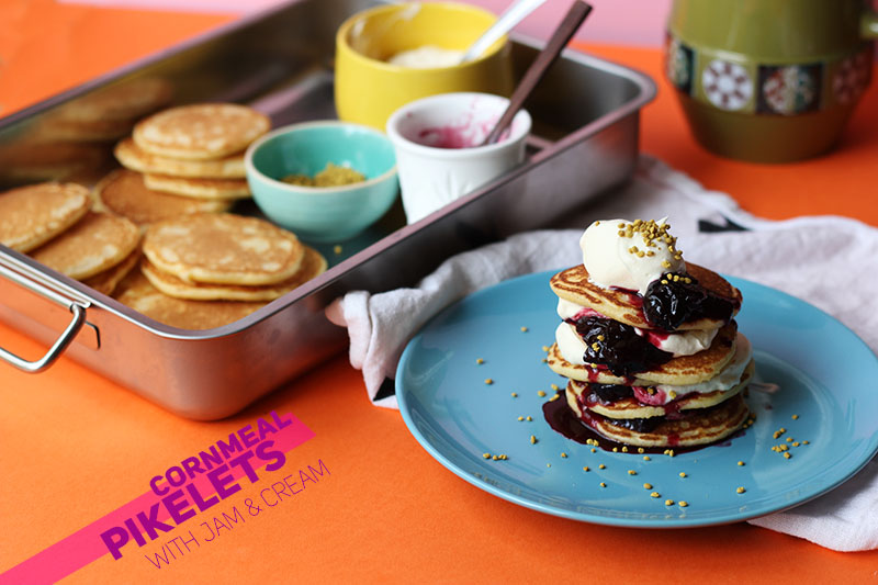 Cornmeal Pikelets with Jam & Cream // The Sugar Hit