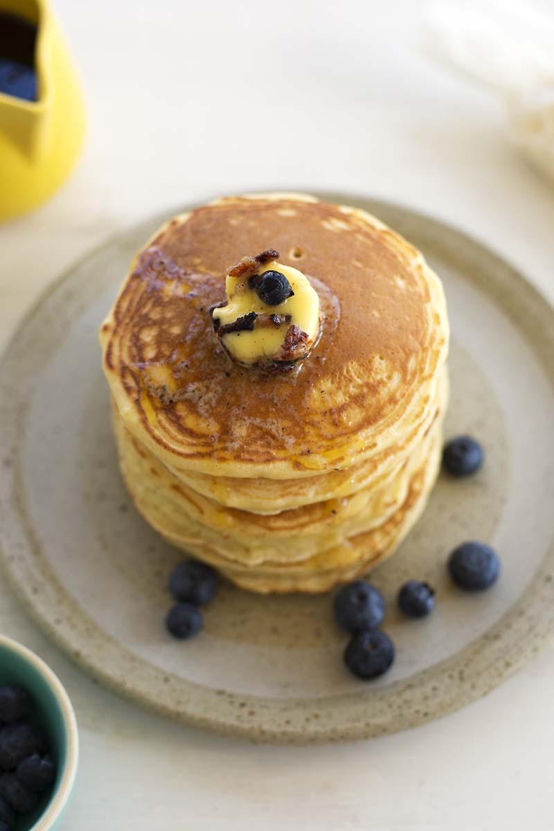 Diner-style Pancakes with BACON BUTTER!