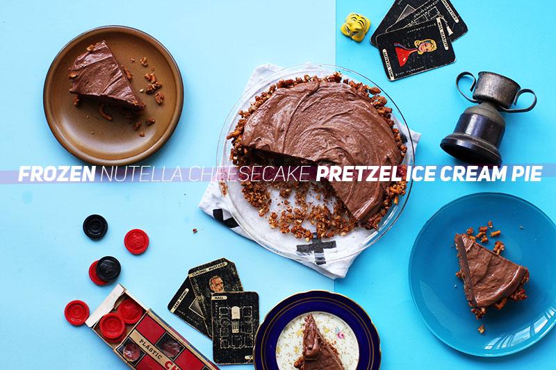 Frozen Nutella Cheesecake Pretzel Ice Cream Pie // The Sugar Hit