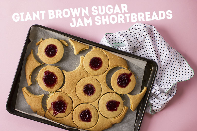 Giant Brown Sugar Jam Shortbreads // The Sugar Hit