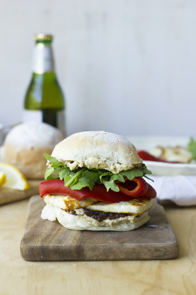 Haloumi and Roasted Capsicum Burgers // The Sugar Hit