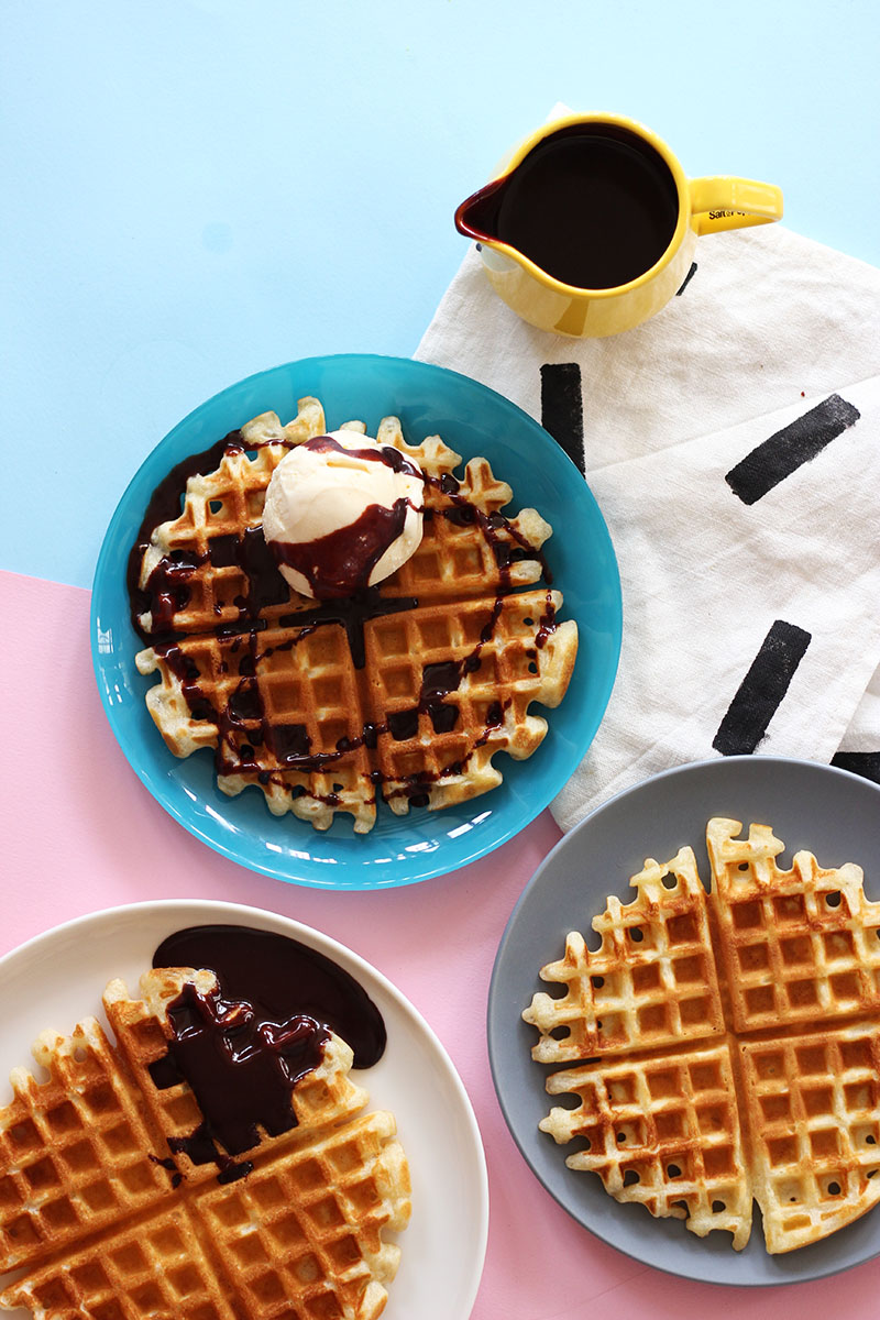 Olive Oil Waffles with Dark Chocolate Sauce // The Sugar Hit
