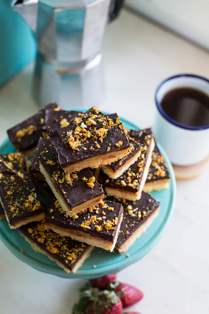 Peanut Butter Honeycomb Millionaire's Shortbread // The Sugar Hit