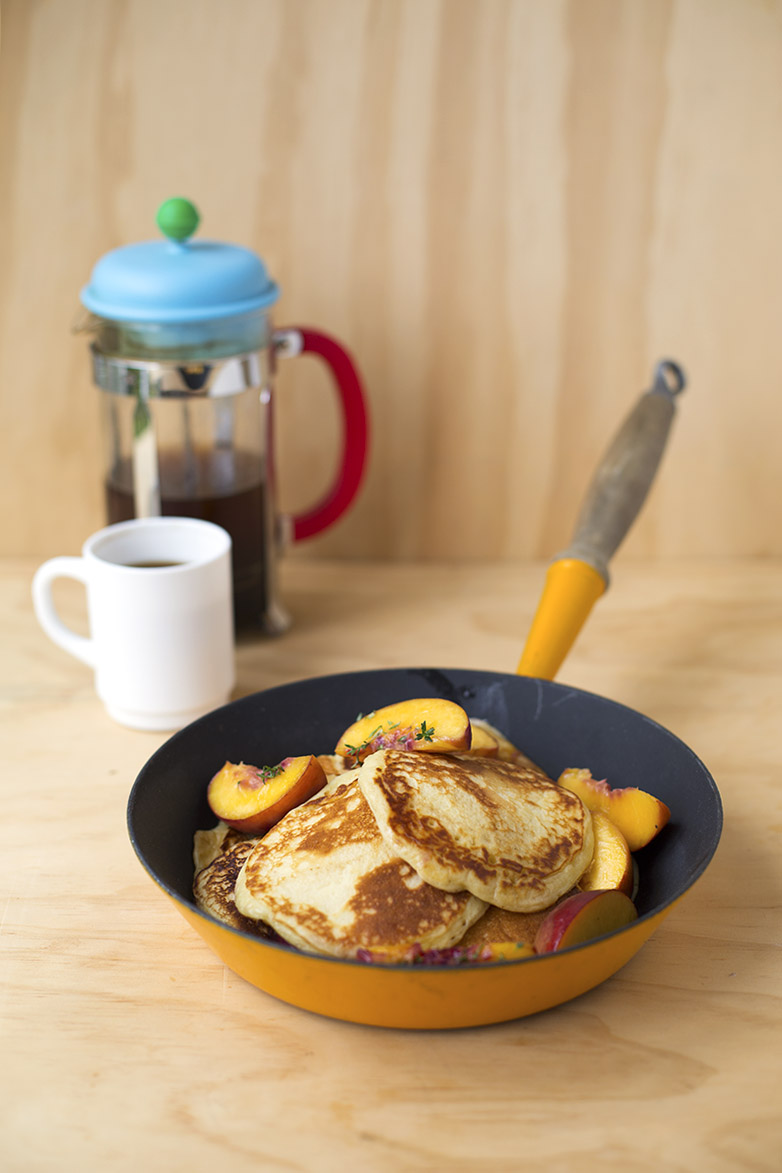 Quark Pancakes with Peaches and Thyme 6