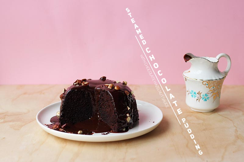 Steamed Chocolate Pudding with Chocolate Hazelnut Sauce // The Sugar Hit