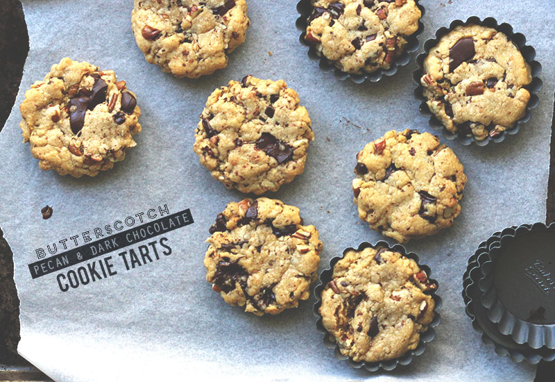 Butterscotch Pecan and Dark Chocolate Cookie Tarts | The Sugar Hit