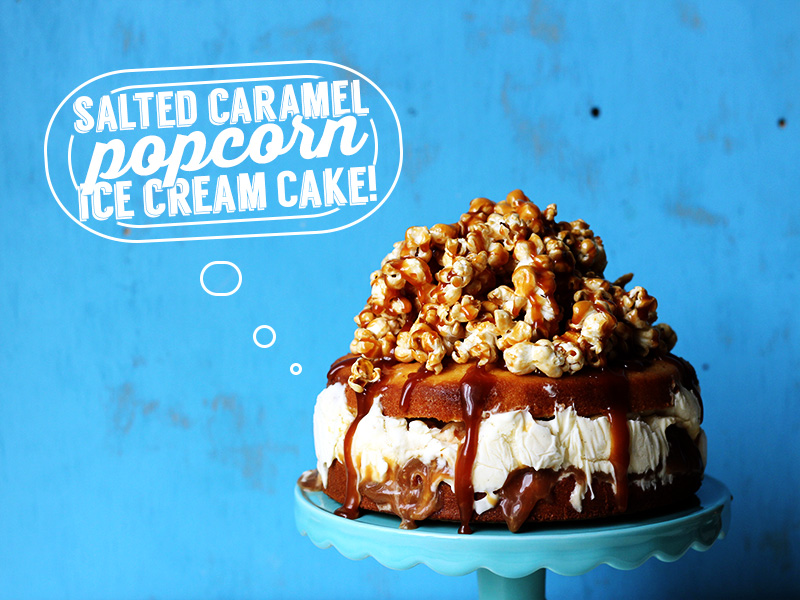 Salted Caramel Popcorn Ice Cream Cake | The Sugar Hit