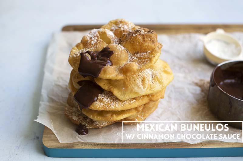 Mexican Bunuelos with Cinnamon Chocolate Sauce // The Sugar Hit