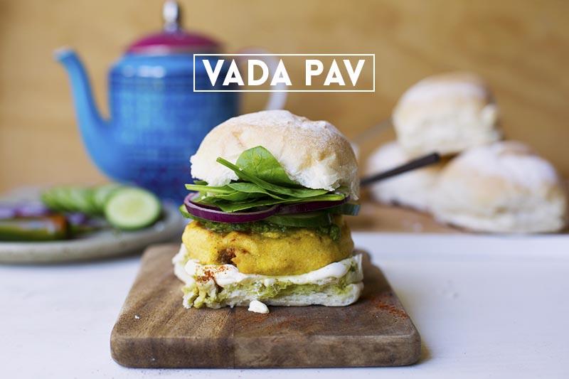 Vada Pav - classic Indian Street Food. Spiced potatoe patties with coriander chutney // The Sugar Hit